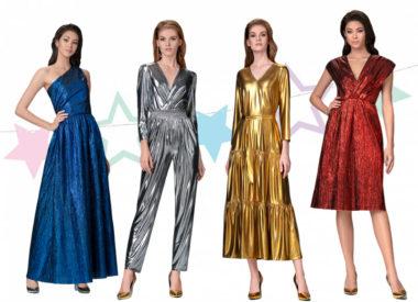 Новогодние платья из ламе и металлизированной ткани